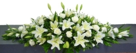 Coffin Spray of  White Lilies and Roses