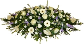 Coffin Spray of Lilac & White flowers.