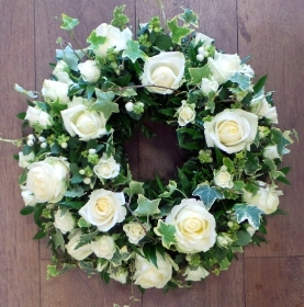 White Rose & Ivy Wreath.
